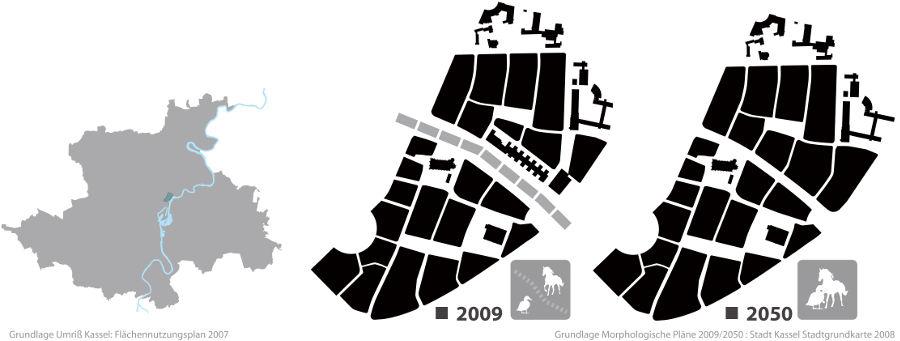 Darstellung der Lage im Stadtgebiet und der Entwicklung des Quartiers von 2009 bis 2050