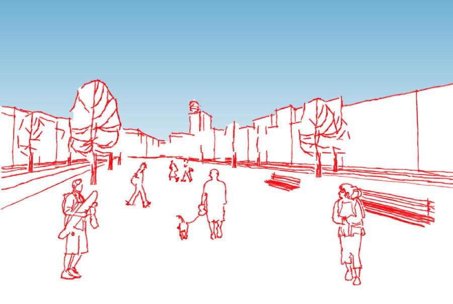 Skizzenhafte Visualisierung des zentralen Bereichs des Binding-Bogens