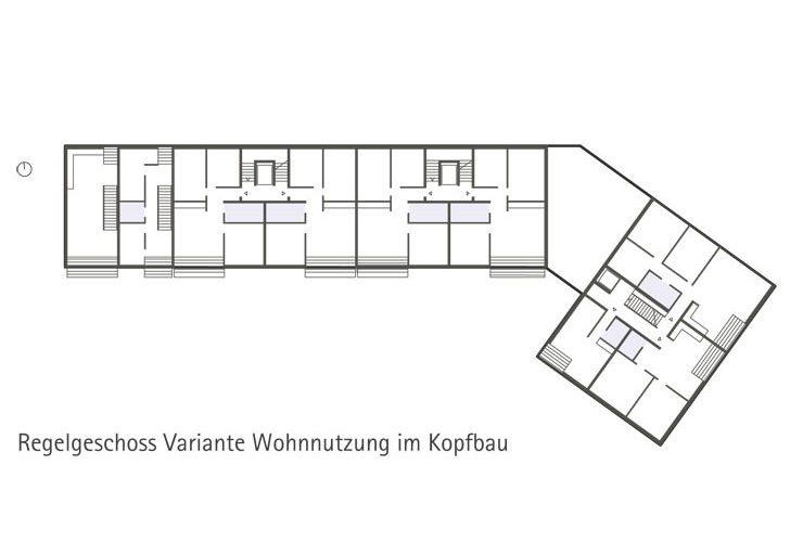 Städtebauliches Konzept Marktplatz Dortmund-Eving - Grundriss Regelgeschoss (Variante Wohnen im Kopfbau)