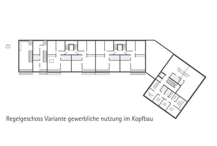 Städtebauliches Konzept Marktplatz Dortmund-Eving - Grundriss Regelgeschoss (Variante Gewerbe im Kopfbau)