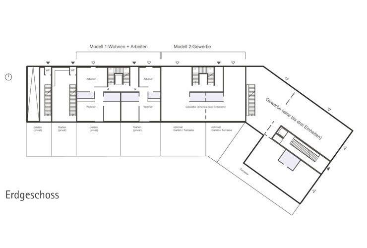 Städtebauliches Konzept Marktplatz Dortmund-Eving - Grundriss Erdgeschoss