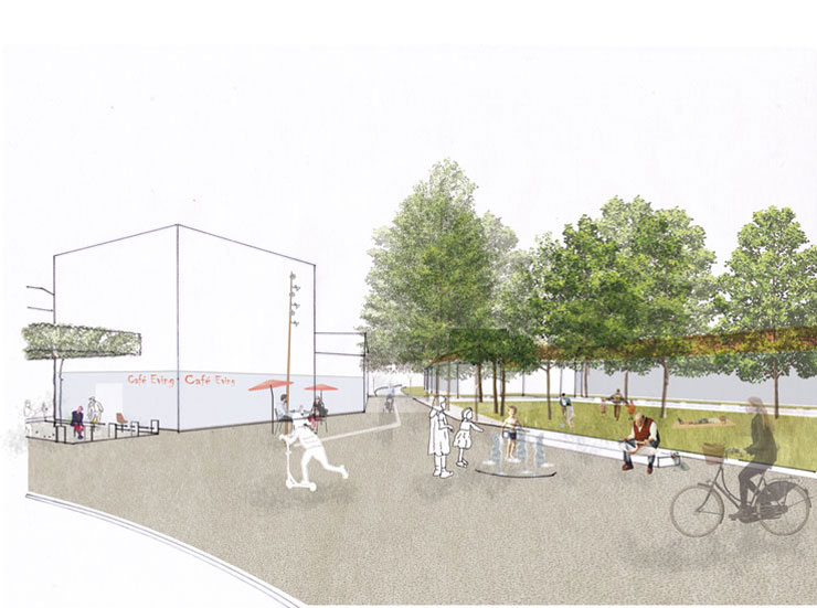 Städtebauliches Konzept Marktplatz Dortmund-Eving - Perspektive Platz