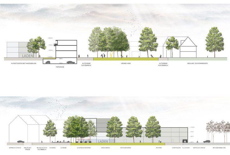 Städtebauliches Konzept Marktplatz Dortmund-Eving - Geländeschnitte (Süd-Nord + Ost-West)