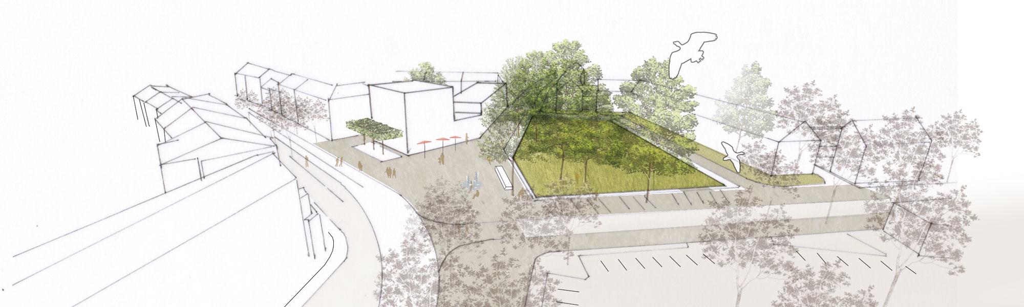 Städtebauliches Konzept Marktplatz Dortmund-Eving - Vogelperspektive