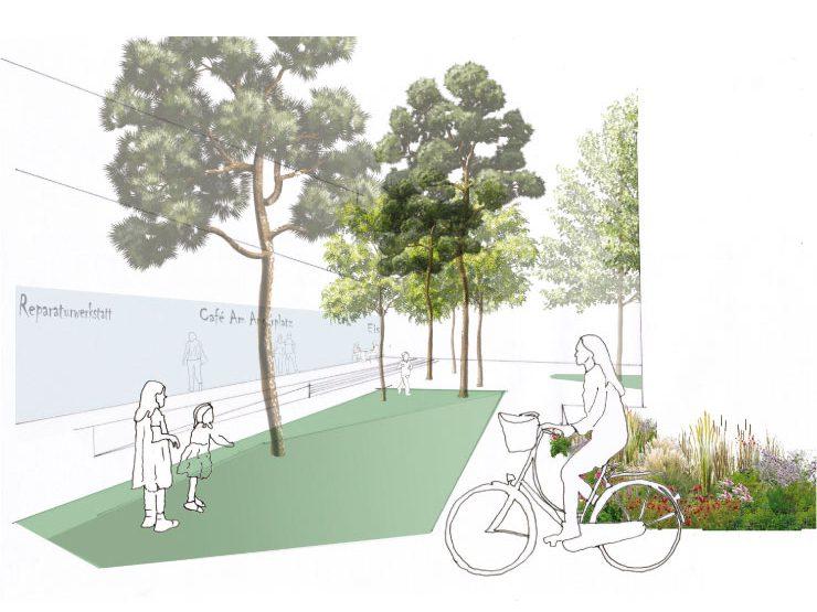 Städtebauliche-freiraumplanerischer Wettbewerb 'Magdeburg, Kleiner Stadtmarsch' - Perspektive Boulevard