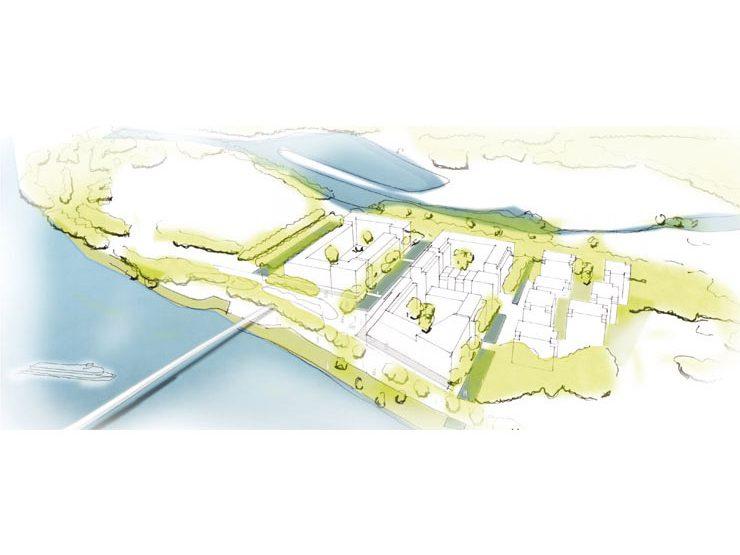 Städtebauliche-freiraumplanerischer Wettbewerb 'Magdeburg, Kleiner Stadtmarsch' - Vogelperspektive