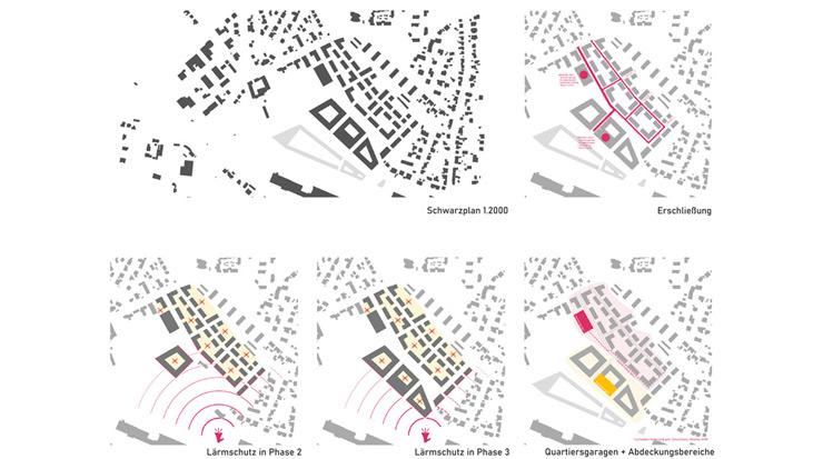 Schwarzplan und Piktos Verkehr/Lärm/Quartiersgaragen
